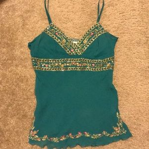 Miss Me Turquoise Embroidered with sequins tank